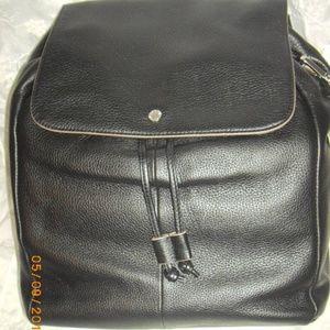 Isaac Mizrahi Black Glove Leather Bag Backpack